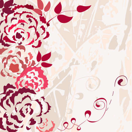 Rose floral card with grunge background Vector