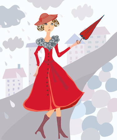 dress coat: Woman at the autumn rain in the city Illustration