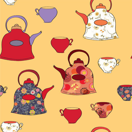 Seamless pattern with tea pots and cups in retro style Vector