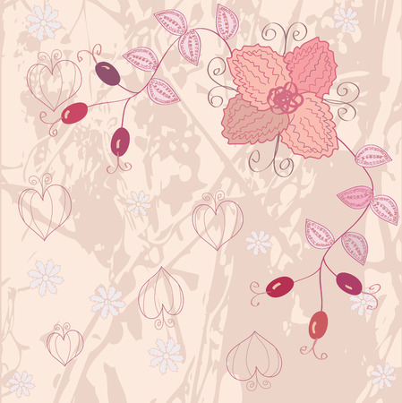 hagebutten: Grunge floral pink Background f�r Karte Illustration
