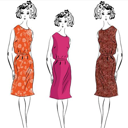 Retro fashion model girls in dresses Illustration