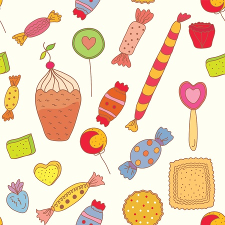 Seamless pattern with candies and sweets Stock Vector - 9177740