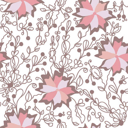 Floral seamless pattern with big pink flowers Stock Vector - 9177739