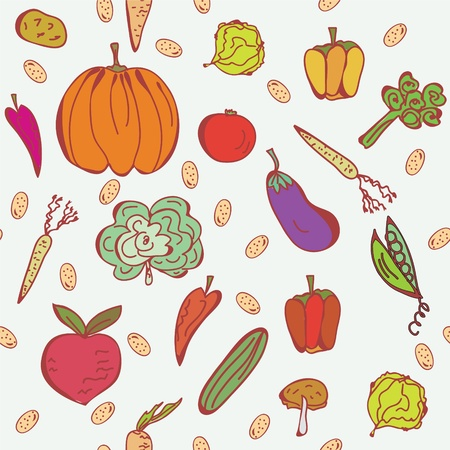 Vegetables doodle seamless pattern in bright colors Stock Vector - 9177736