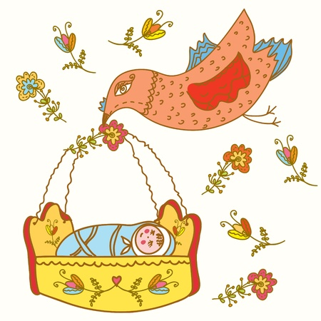 Fairytale bird brings baby in flowers Illustration