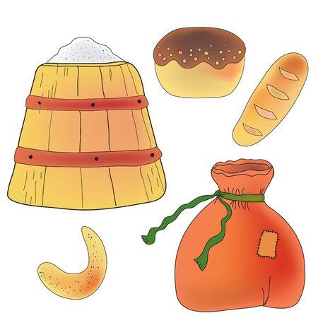 corn poppy: Set of bread, flour and ingrediends for baker