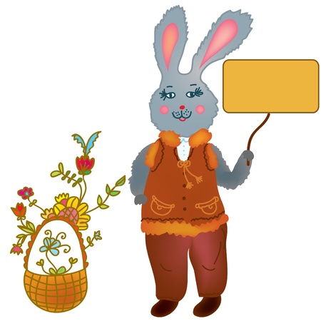 Cute hare holding banner and basket with flowers Vector