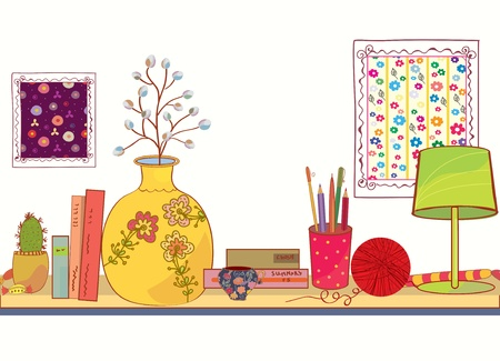 Shelf with book and house objects cartoon Illustration