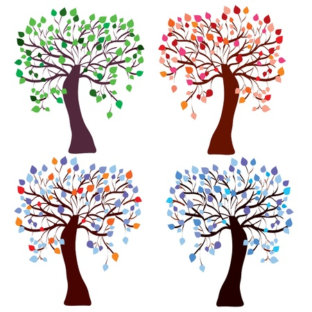 Four season trees set with color leaves Stock Vector - 9177742