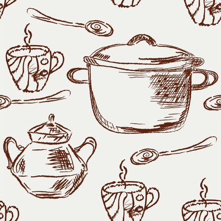 Seamless pattern with pans, spoon and cups