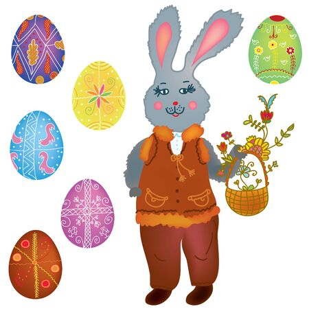 paschal: Easter collection with hare and eggs cartoon Illustration
