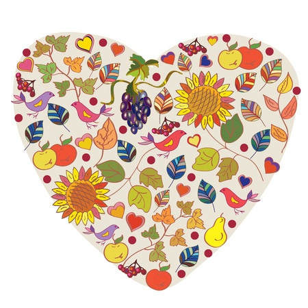 Abstract floral autumn heart with fruits and berries Vector
