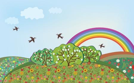 sol caricatura: Paisaje floral con dibujos animados de arco iris