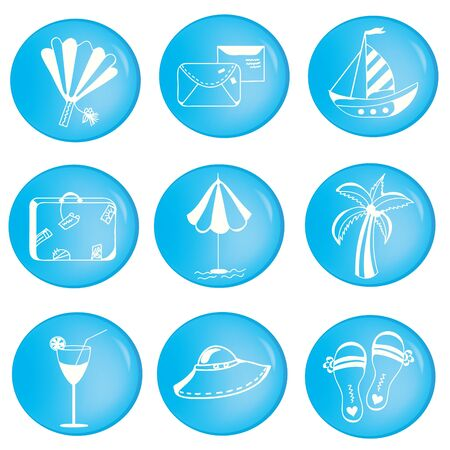 Vacations icons set with objects in cartoon style Stock Vector - 9213218