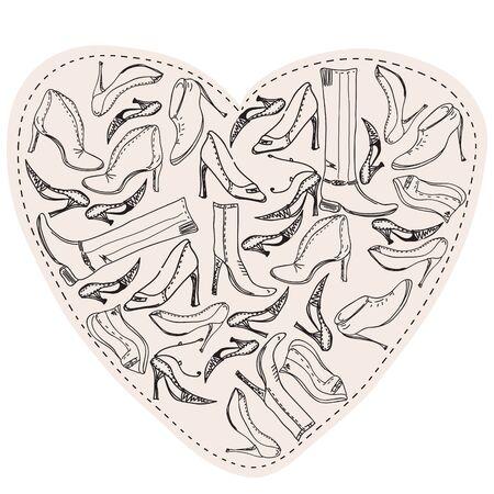 shoe sale: Esbozo de zapatos en forma de coraz�n Vectores