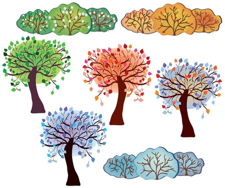 Set of trees and bush of four season  Vector