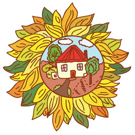 Farm landscape in flower icon Vector