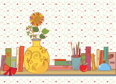 Shelf with books and funny house object Vector