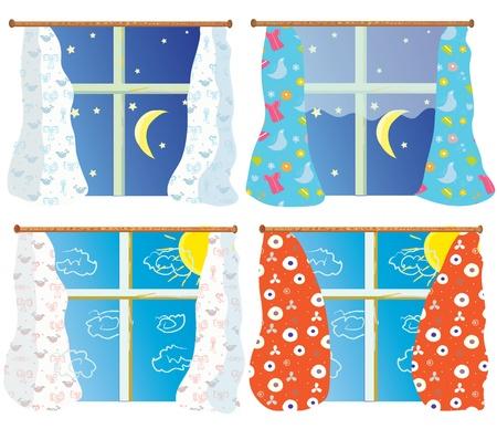 tag und nacht: Legen Sie Tag und Nacht mit Muster Vorh�nge in Windows