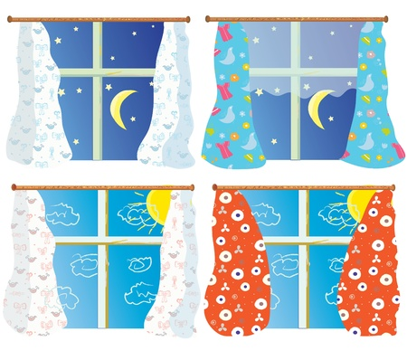 Windows set with pattern curtains in day and night Vector