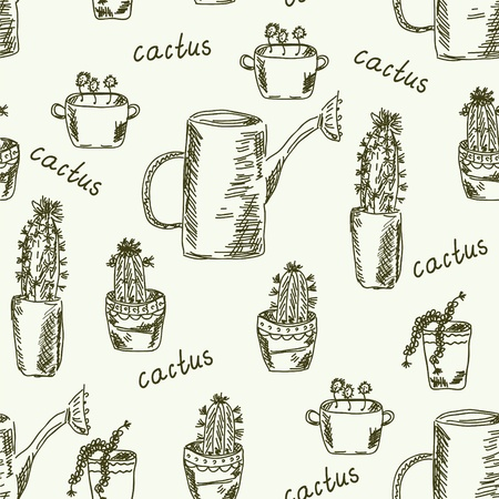 Cactus flower seamless doodle pattern Vector