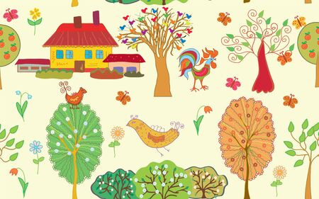 Village seamless pattern with trees and farm Illustration