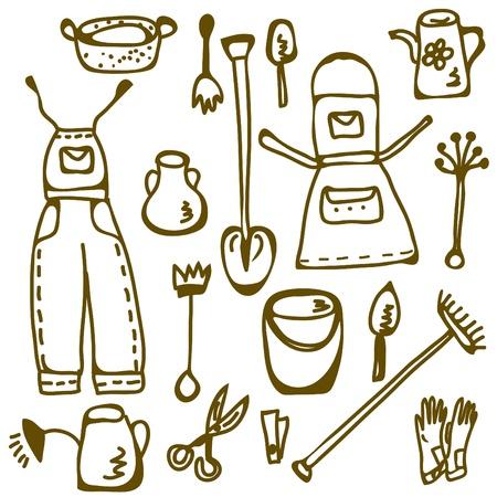 mattock: Garden tools set doodle funny