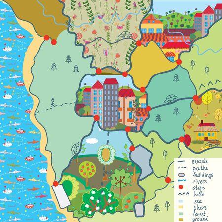 Mapa de niño con dibujos animados patrones divertido Ilustración de vector