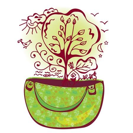 reusable: Concept ecological bag with nature symbols Illustration