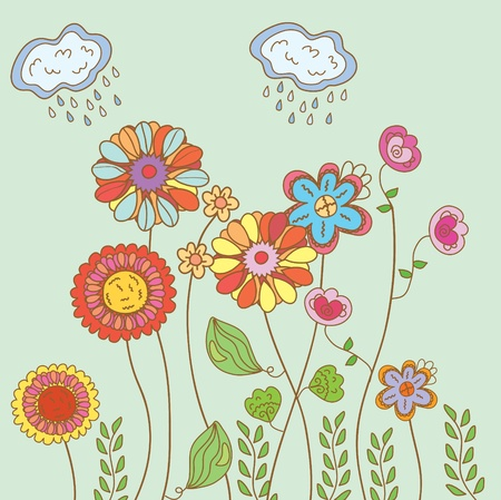Spring floral card with rain  Illustration