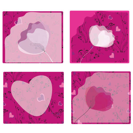 Set of poppy cards with romantic patterns Vector