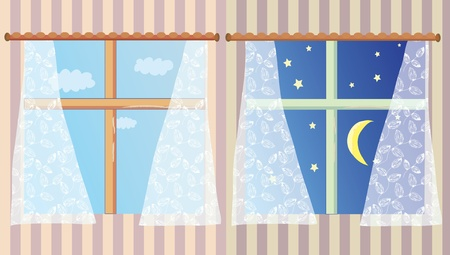 Windows in the room at day and night set Stock Vector - 9332833