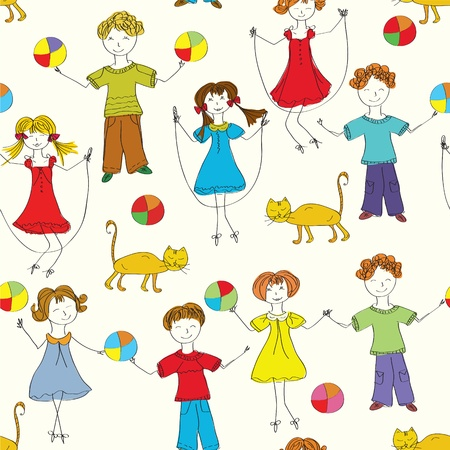 Cartoon children seamless pattern in bright colors Stock Vector - 9332829
