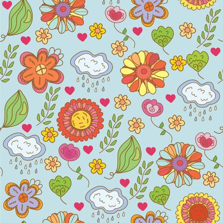 Nature ornate floral seamless pattern cartoon Vector