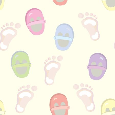 Baby seamless pattern with footprints and shoes Vector