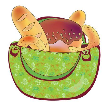 homemade bread: Bag with bread ornate cartoon
