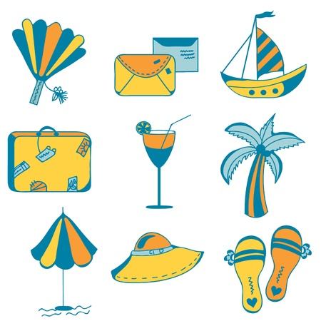 flipflops: Sea icons set for vacations
