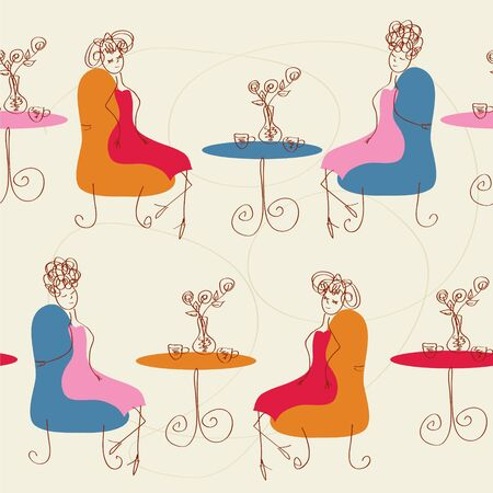 Women in the cafe seamless cartoon pattern Vector