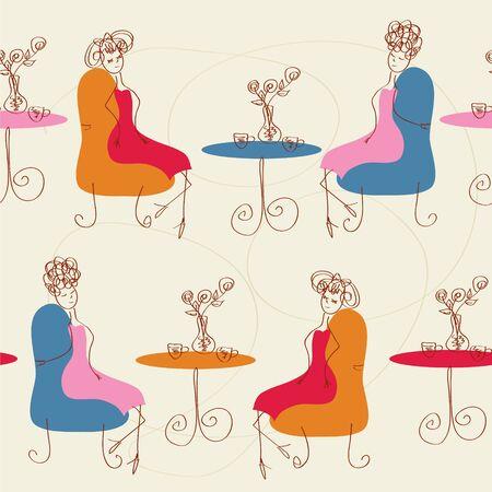 kitchen tile: Women in the cafe seamless cartoon pattern