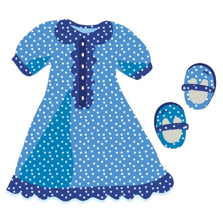 pattern pois: Baby girl dress con motivo a pois blu Vettoriali