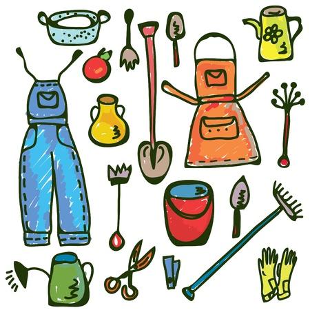 watering: Tuingereedschap temidden grappige doodle van kleuren Stock Illustratie