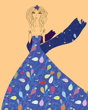 Fashion card with girl in dress with pattern Vector