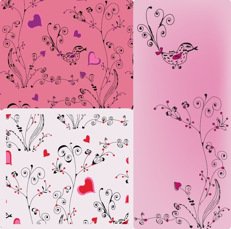 Floral backgrounds set with romantic patterns Stock Vector - 9451767