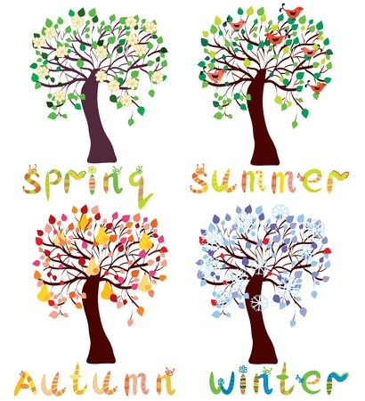a bough: Set of season trees in childish style cartoon Illustration