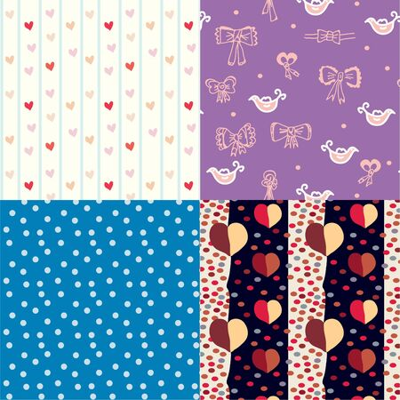 Set of funny seamless pattern for kids Vector