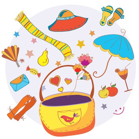 Cartoon bag with funny objects fashion card Vector