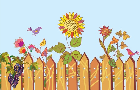 Fence and flowers cartoon border in summer with bird Vector