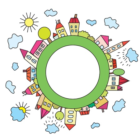 row of houses: Ciudad infantil de dibujos animados del planeta