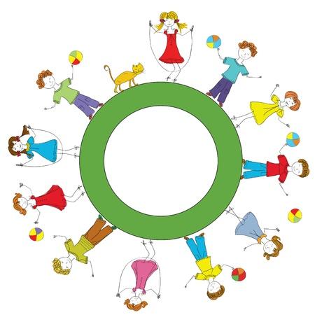 Divertido niños jugando en la caricatura de planeta Ilustración de vector