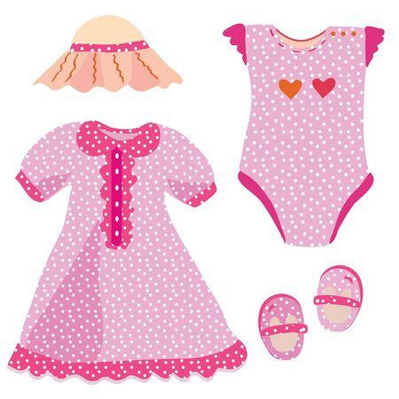 Bebé de chica - vestido, sombrero, babygro, zapatos Ilustración de vector